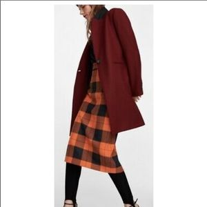 ZARA Masculine Coat In Burgundy, Size M